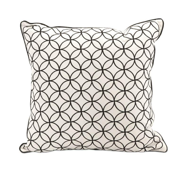 IMAX Home 97245 Essentials Black Embroidered Pillow Home Decor