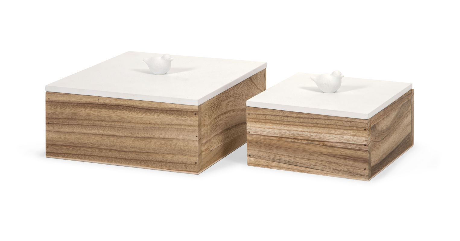 IMAX Home 97400-2 Mochrie Lidded Boxes - Set of 2 Home Decor Boxes