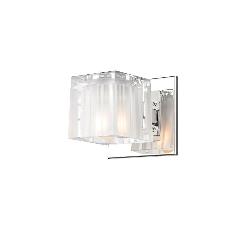 Iberlamp C143-01-CH Chrome Contemporary Block Wall Sconce