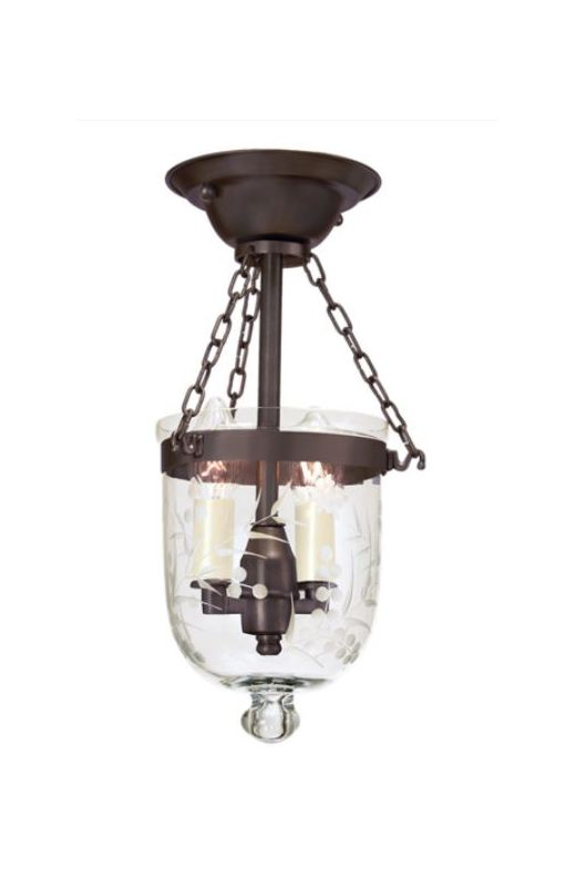 JVI Designs 1049 Hundi 2 Light Semi-Flush Ceiling Fixture Oil Rubbed
