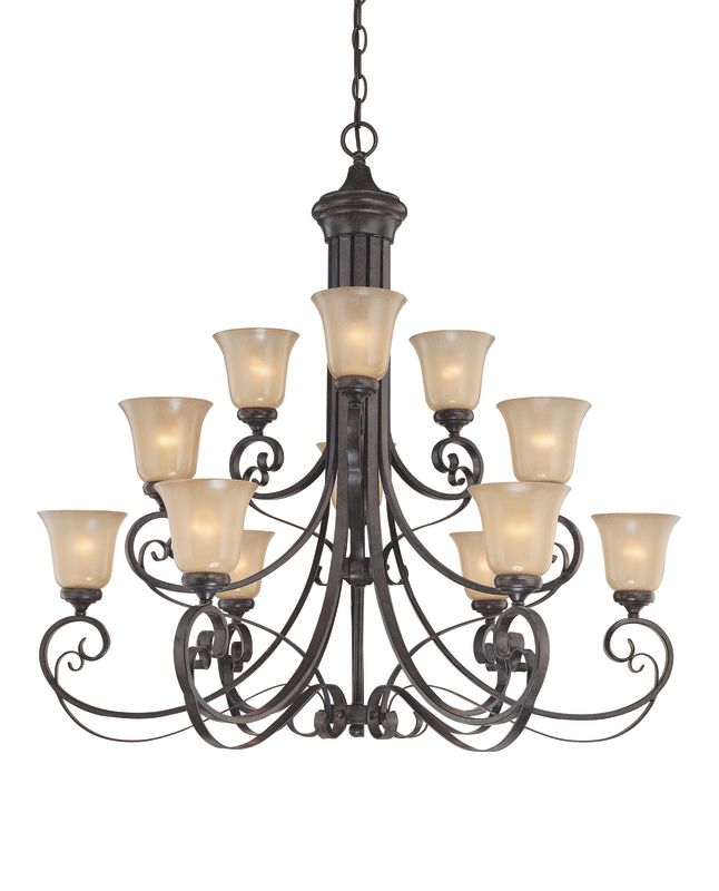 Jeremiah Lighting 25112 Stanton Three Tier 12 Light Chandelier - 42.5