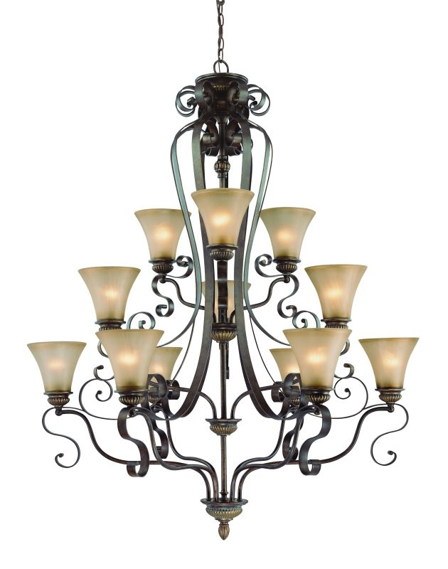 Jeremiah Lighting 26512 Kingsley Three Tier 12 Light Chandelier - 42.5