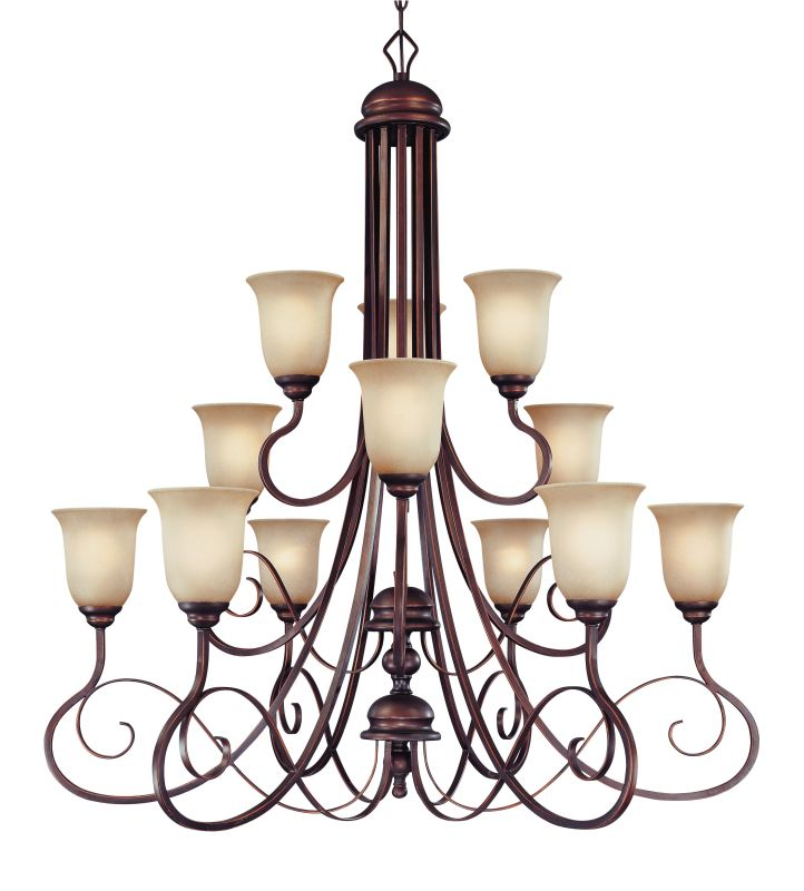 Jeremiah Lighting 21712 Preston Place Three Tier 12 Light Chandelier -
