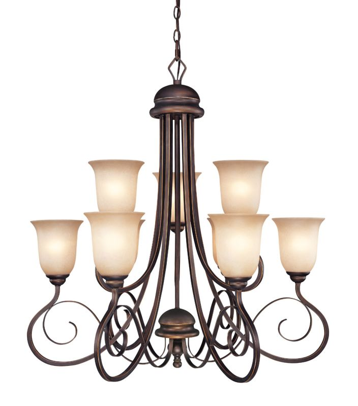 Jeremiah Lighting 21729 Preston Place Two Tier 9 Light Chandelier -