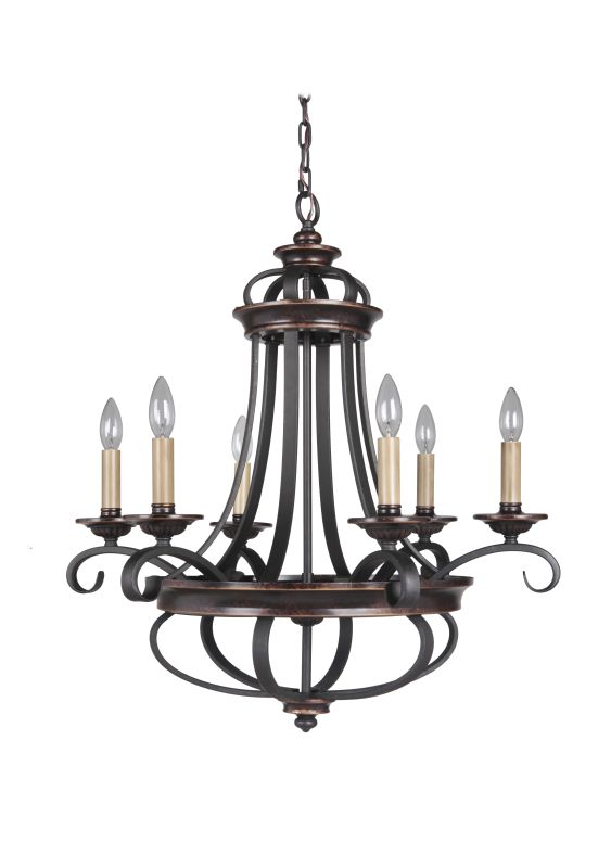 Jeremiah Lighting 38726 Stafford 6 Light Candle Style Chandelier - 26