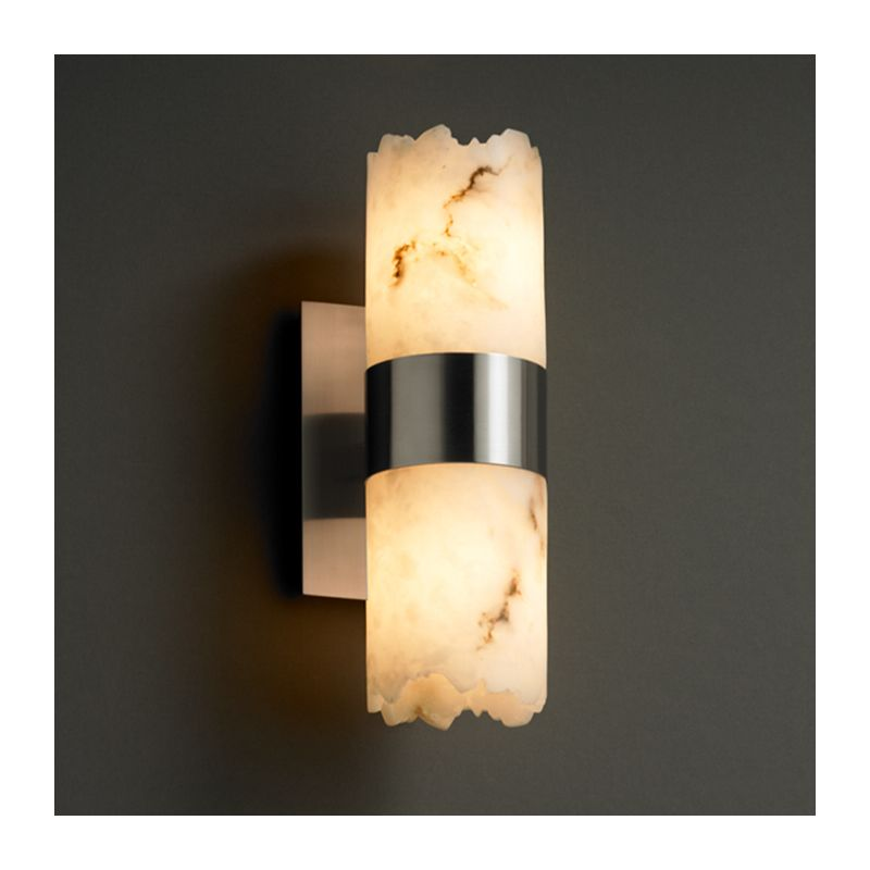 Wall Sconces Alabaster Glass : Justice Design Group FAL-8762-NCKL Brushed Nickel Alabaster Stone / Glass Down Lighting Wall ...