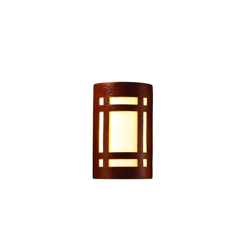 Justice Design Group CER-7485-HMCP Hammered Copper Single Light 9.5u0026quot; Indoor Small Craftsman ...