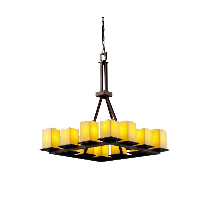 Justice Design Group CNDL-8663-19-AMBR CandleAria 12 Light 1 Tier