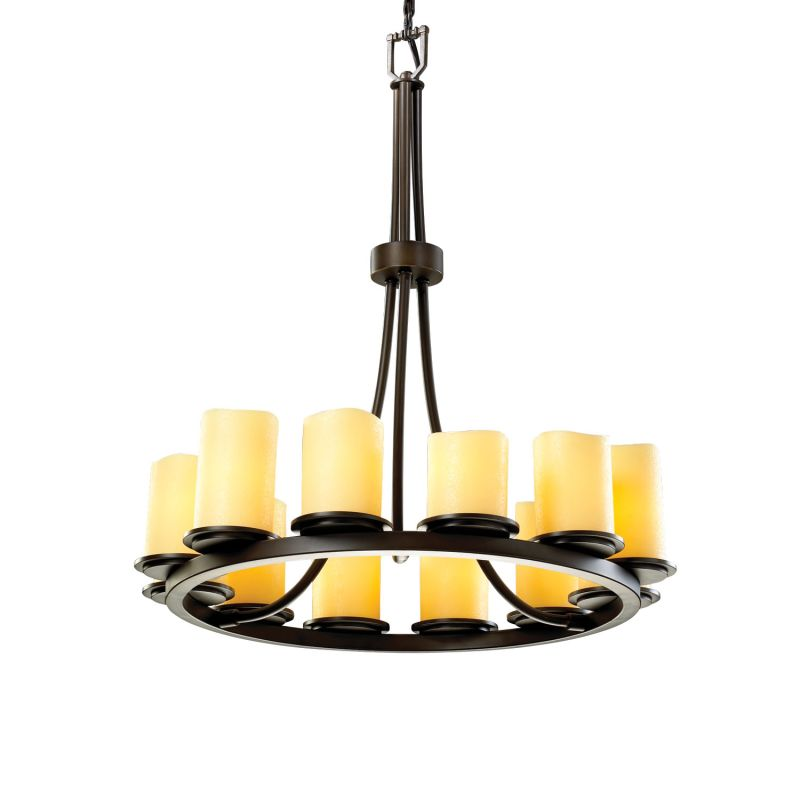 Justice Design Group CNDL-8763-14-AMBR CandleAria 12 Light 1 Tier