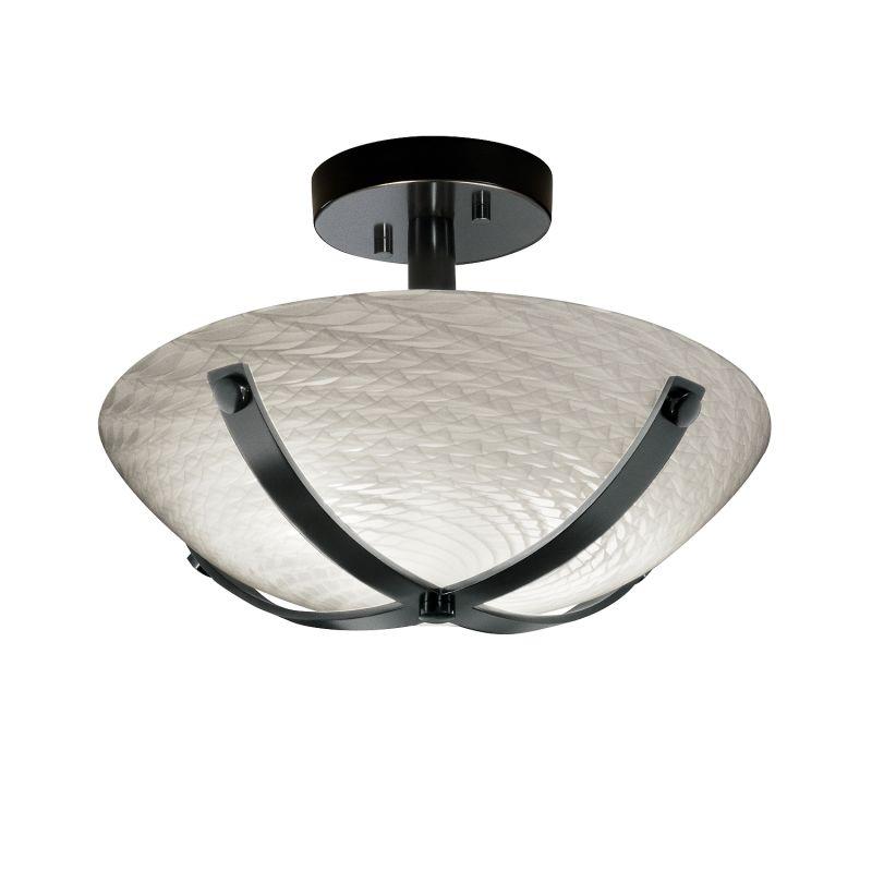 "Justice Design Group FSN-8760-35-WEVE-LED-2000 Fusion 14"" Round Bowl"