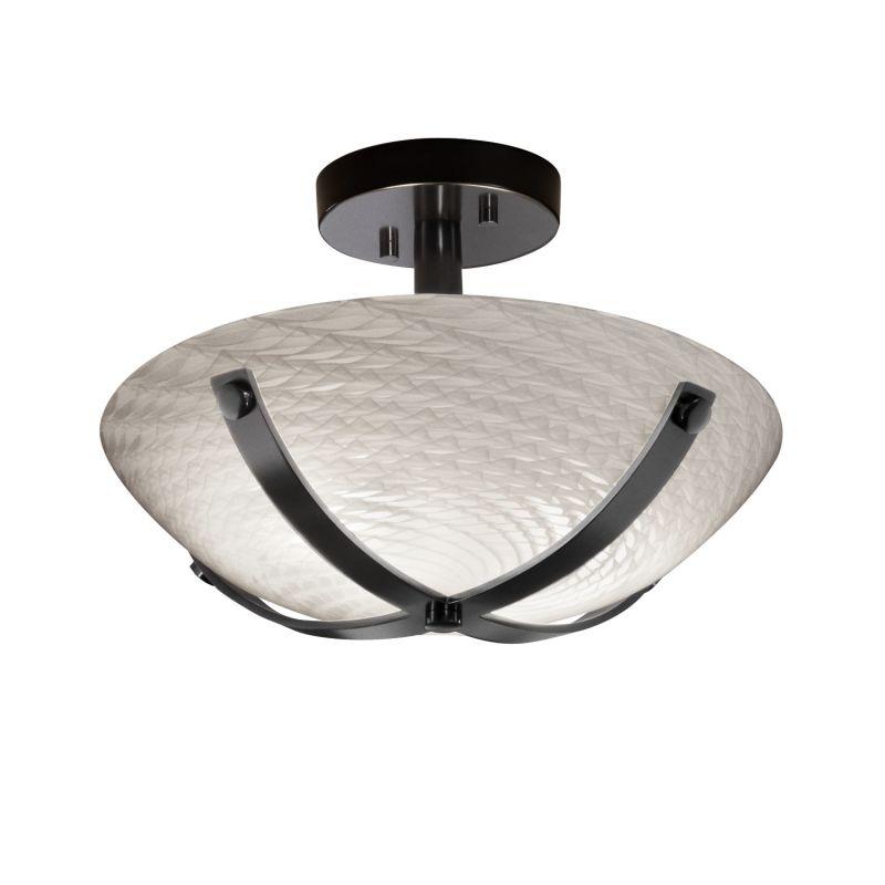 "Justice Design Group FSN-8760-35-WEVE Fusion 14"" Round Bowl Semi-Flush"