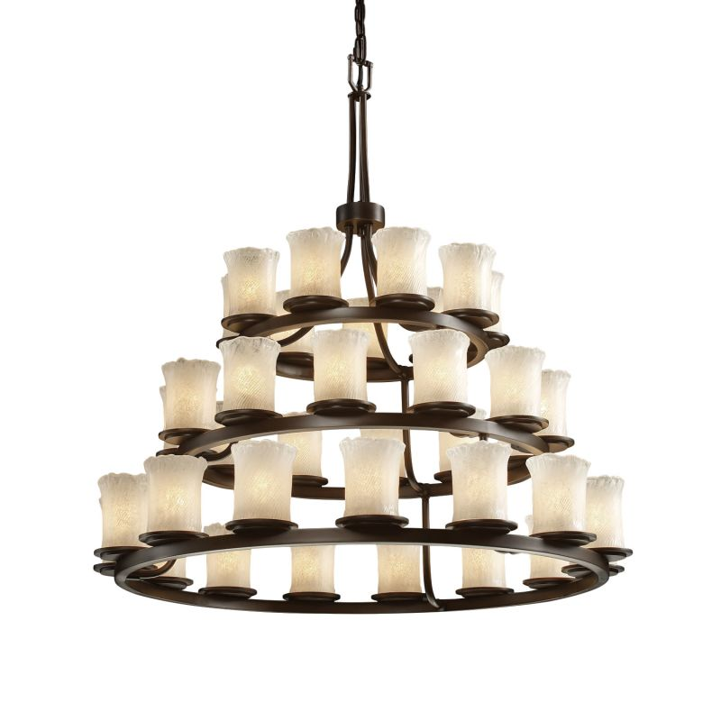 Justice Design Group GLA-8712 Dakota 36 Light 3-Tier Ring Chandelier