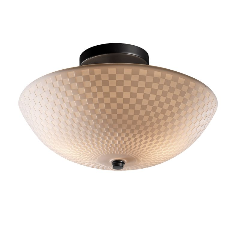 "Justice Design Group PNA-9690-35-CHKR-LED-2000 Porcelina 14"" Round"