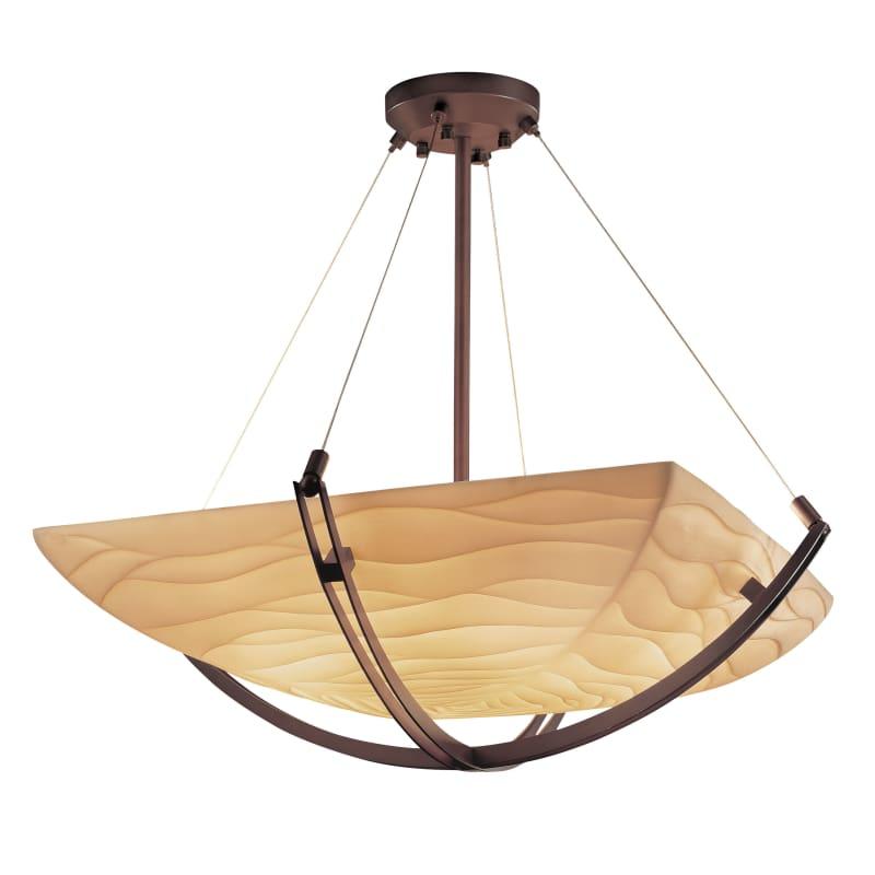 """Justice Design Group PNA-9724-25-WAVE Porcelina 42"""" Wide Bowl Pendant"""