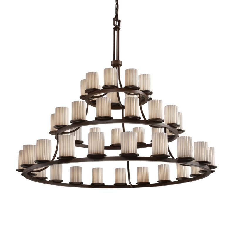 Justice Design Group POR-8714 Dakota 45 Light 3-Tier Ring Chandelier