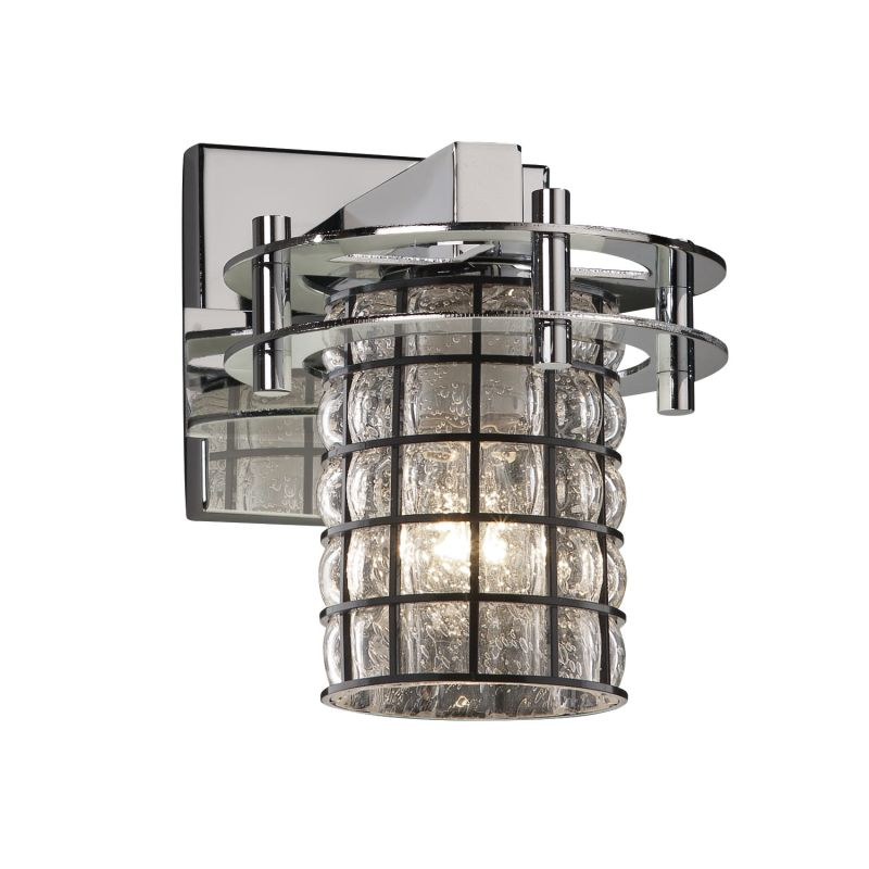 "Justice Design Group WGL-8271-10-GRCB Wire Glass 6.5"" Bathroom Sconce"