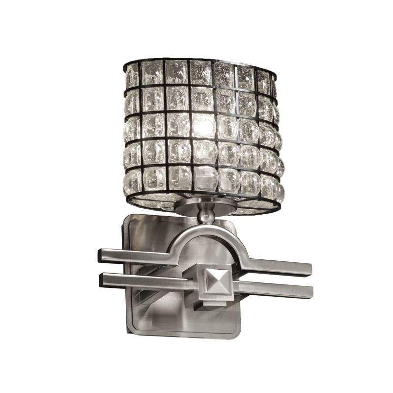 "Justice Design Group WGL-8501-30-GRCB Wire Glass 9"" Bathroom Sconce"