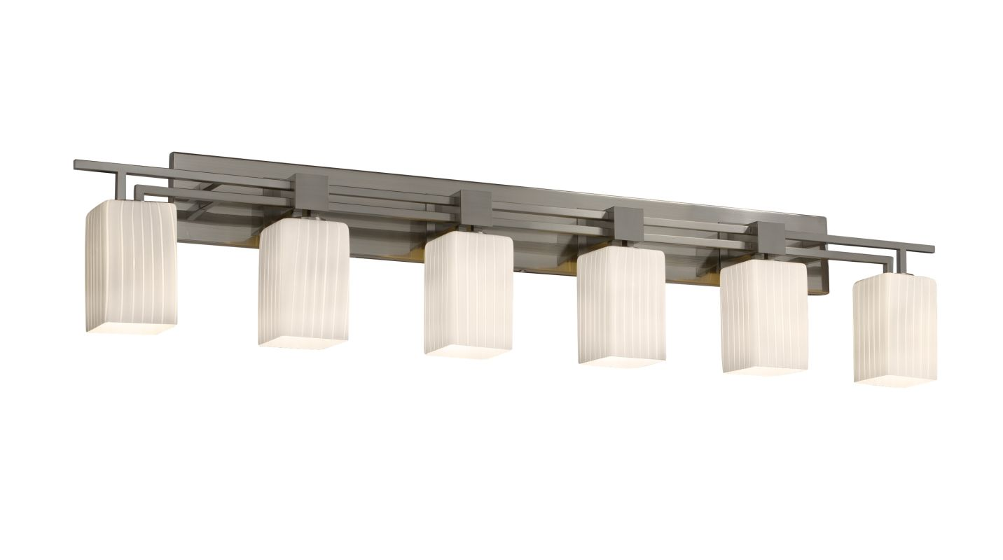 Justice design group fsn 8706 crom polished chrome aero 6 light bath bar from the fusion - Justice design group bathroom lighting ...