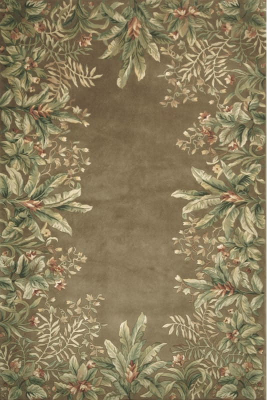 KAS Rugs Emerald 9000 Taupe Tropical Border Hand-Tufted 100% Wool Area Sale $1113.75 ITEM: bci2773243 ID#:EME90008X11 UPC: 757618000105 :