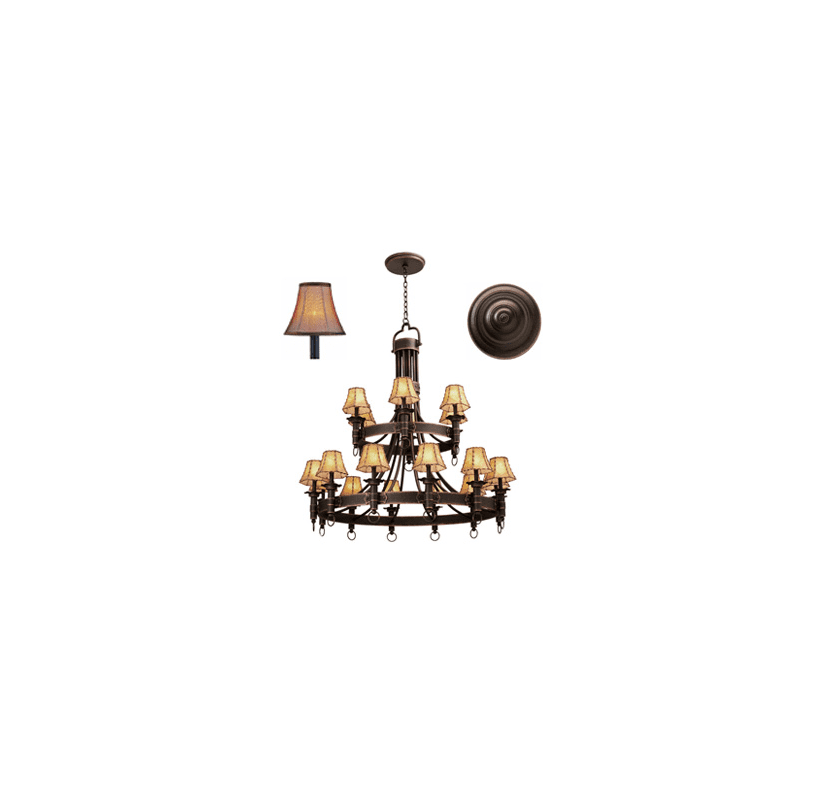 Kalco 4208 Americana 18 Light 2 Tier Chandelier Antique Copper with