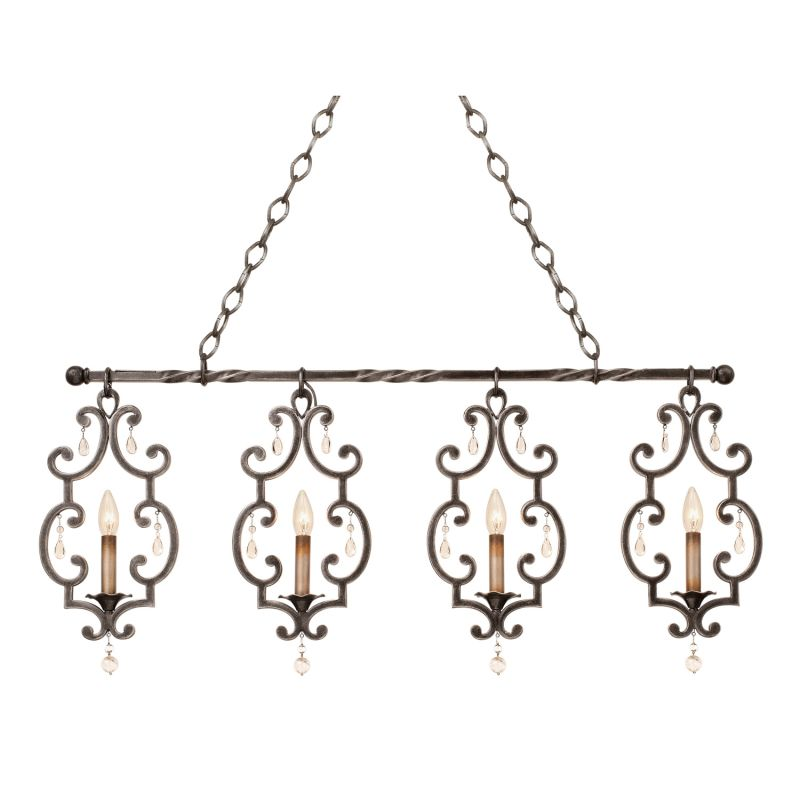 Kalco 2635VI Montgomery 4 Light Linear Chandelier Vintage Iron Indoor