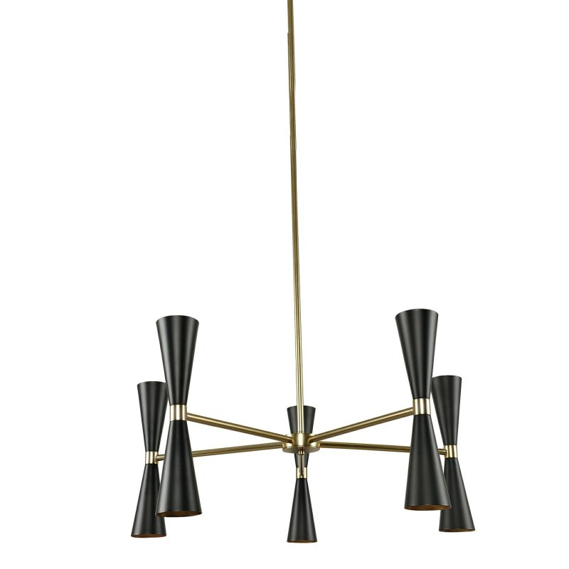 """Kalco 310470 Milo 10 Light 28"""" Wide Shaded Chandelier with Black Metal"""