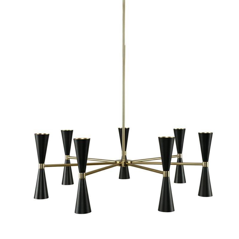 """Kalco 310471 Milo 14 Light 35"""" Wide Shaded Chandelier with Black Metal"""
