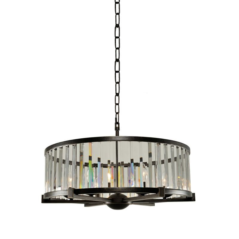 "Kalco 314253 Essex 6 Light 26"" Wide Drum Chandelier with Clear Crystal"