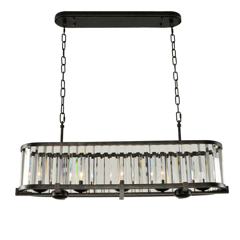 "Kalco 314254 Essex 5 Light 9"" Wide Linear Chandelier with Clear"