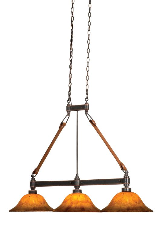 Kalco 4640AC/NS07 Rodeo Dr. 3 Light Linear Chandelier Antique Copper