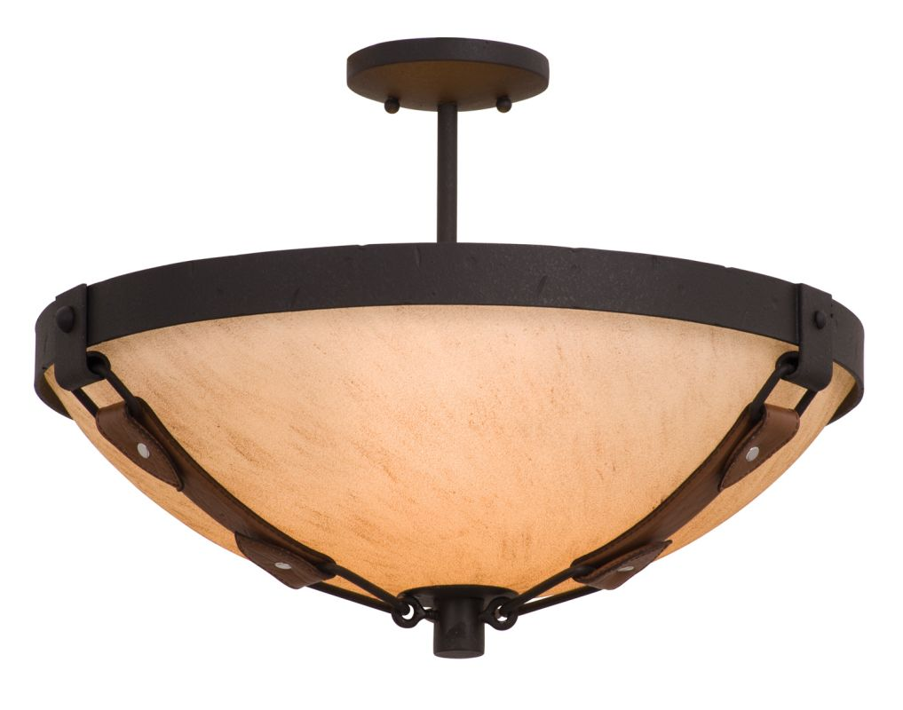 Kalco 4645B/G3108 Rodeo Dr. 3 Light Semi-Flush Ceiling Fixture Black