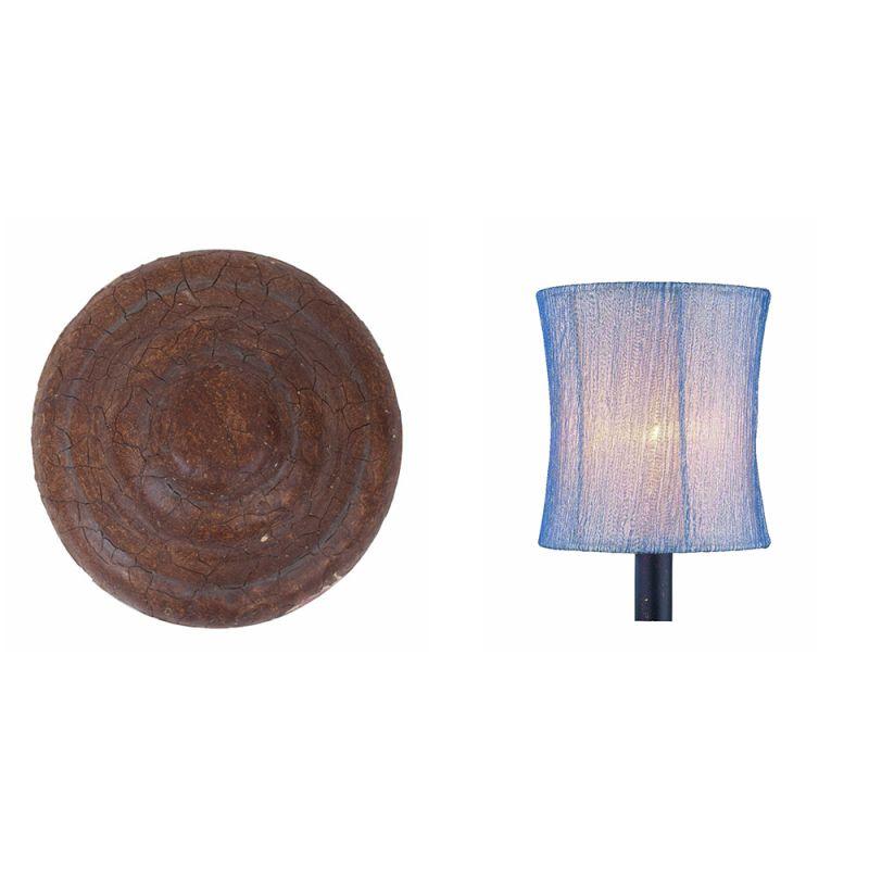 Kalco 5034 Ponderosa 3 Light Pendant Ponderosa with Blue Organza Drum