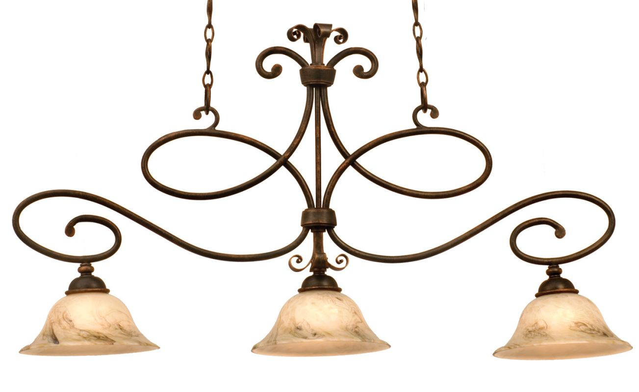 Kalco 5533AC/7006 Amelie 3 Light Linear Chandelier Antique Copper