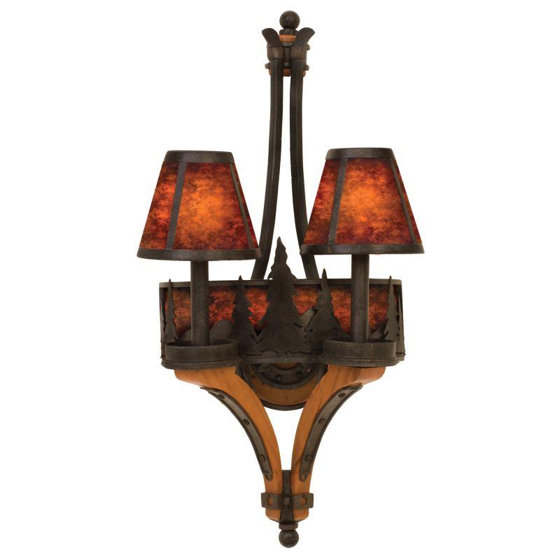 Kalco 5822NI Aspen 2 Light Double Sconce Natural Iron Indoor Lighting