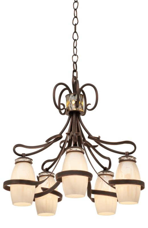 Kalco 6022AC/PEARL Monaco 5 Light 1 Tier Chandelier Antique Copper