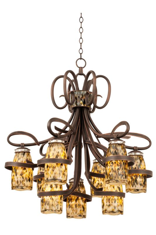Kalco 6023AC/SHELL Monaco 9 Light 1 Tier Chandelier Antique Copper