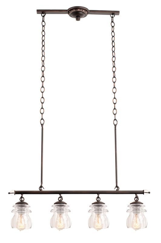 Kalco 6315AC Brierfield 4 Light Linear Chandelier Antique Copper