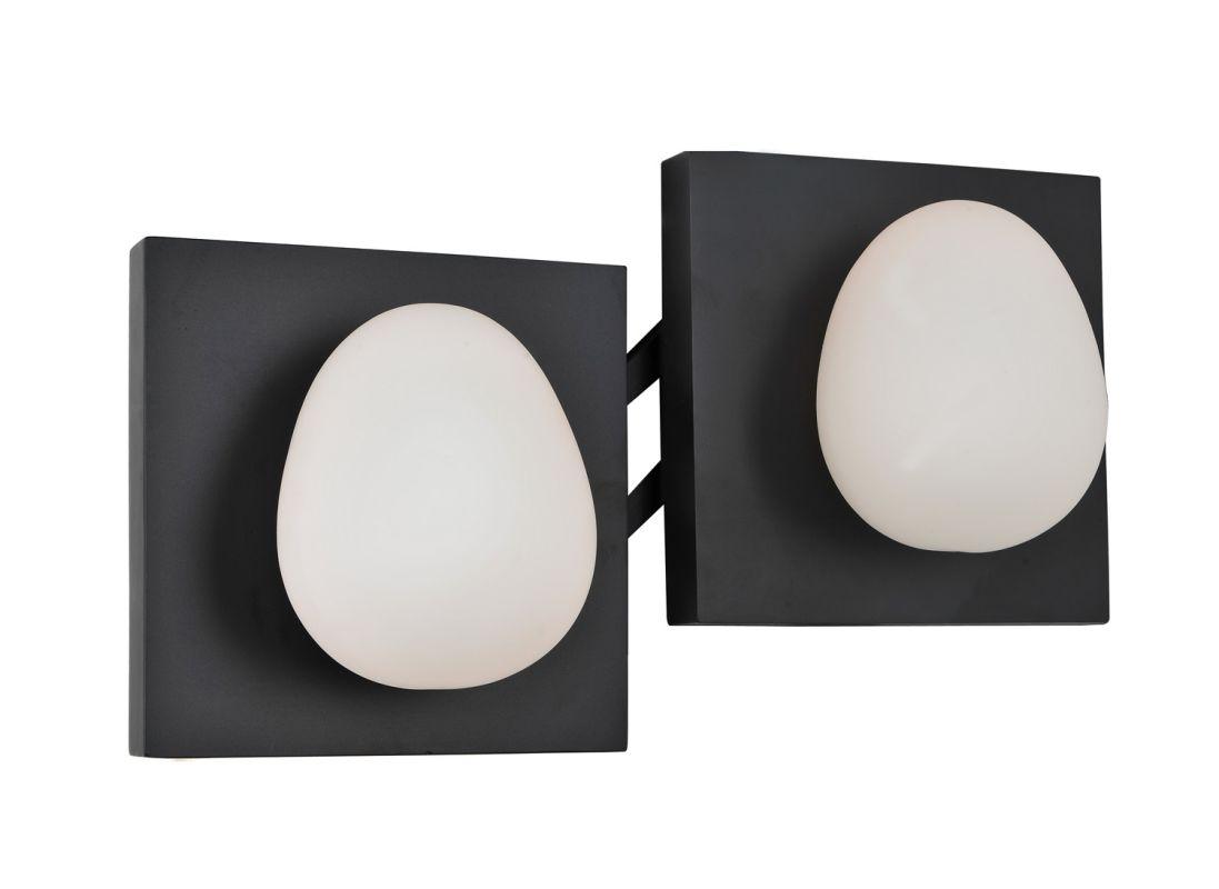 Kalco 6992B River Rock 2 Light Bathroom Vanity Light Black Indoor