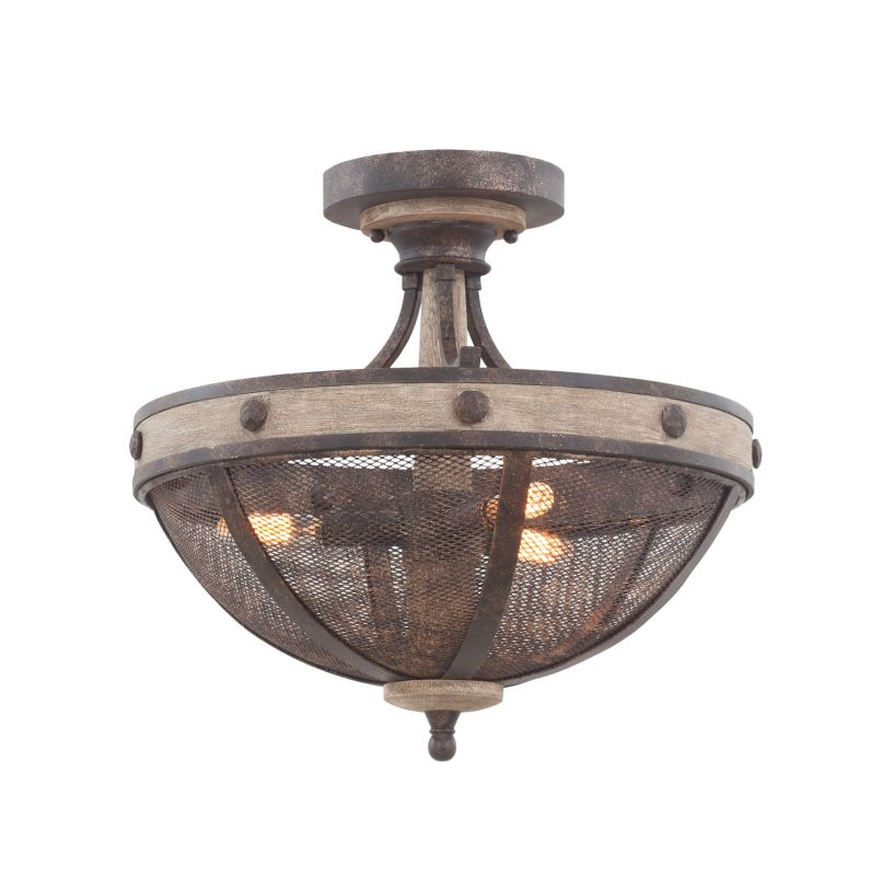 Kalco 7047FG Coronado 3 Light Semi-Flush Ceiling Fixture Florence Gold