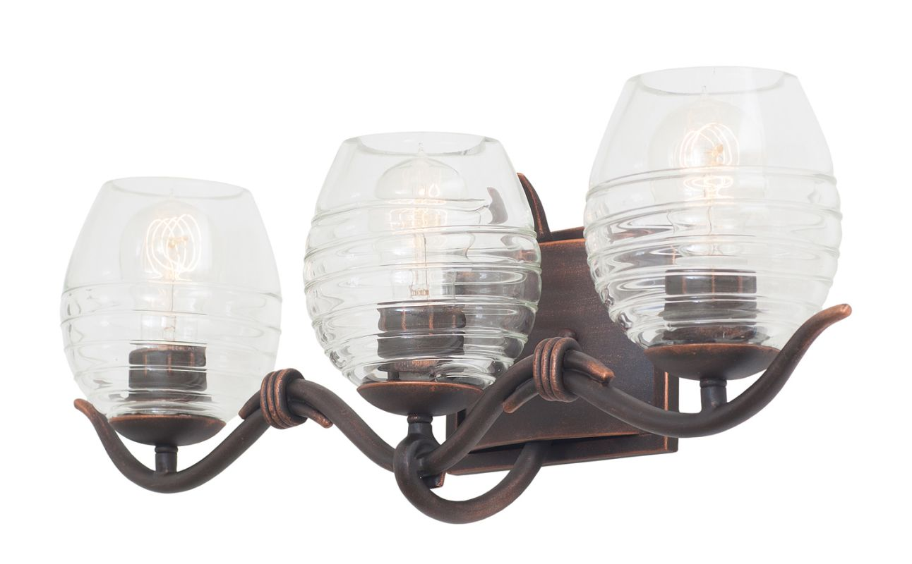 Kalco 7353AC Seabrook 3 Light Bathroom Vanity Light Antique Copper