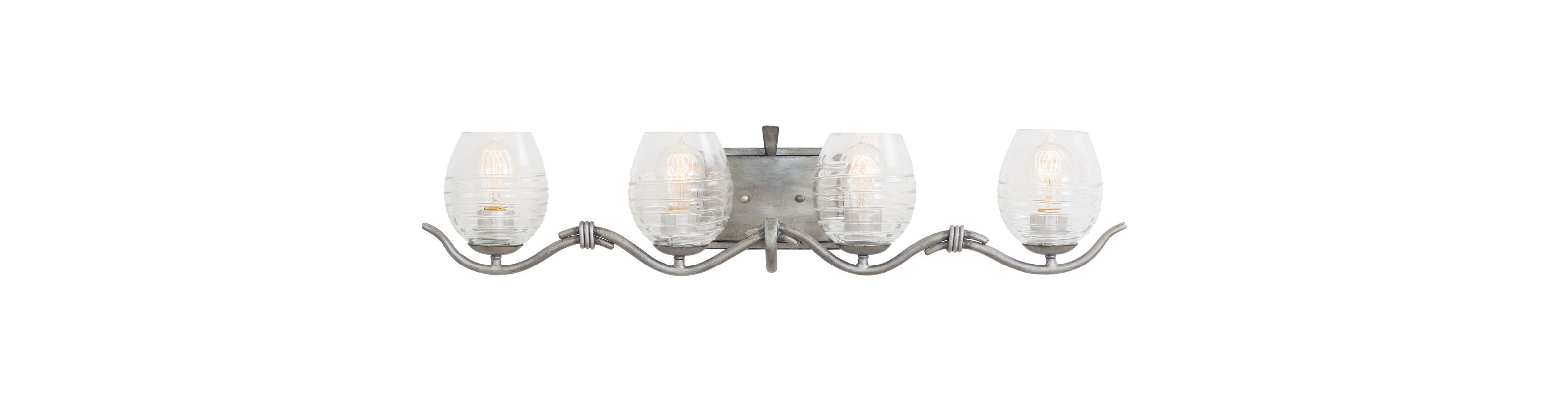 Kalco 7354SM Seabrook 4 Light Bathroom Vanity Light Moon Silver Indoor