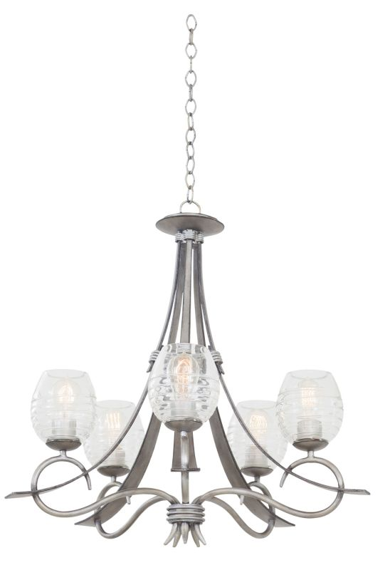 Kalco 7357SM Seabrook 5 Light 1 Tier Chandelier Moon Silver Indoor