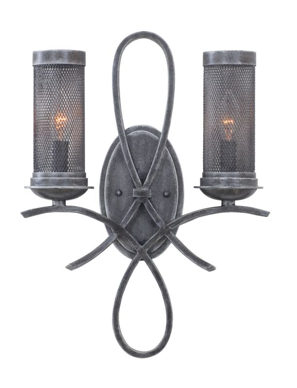 Kalco 7526VI Delancy 2 Light Bathroom Vanity Light Vintage Iron Indoor