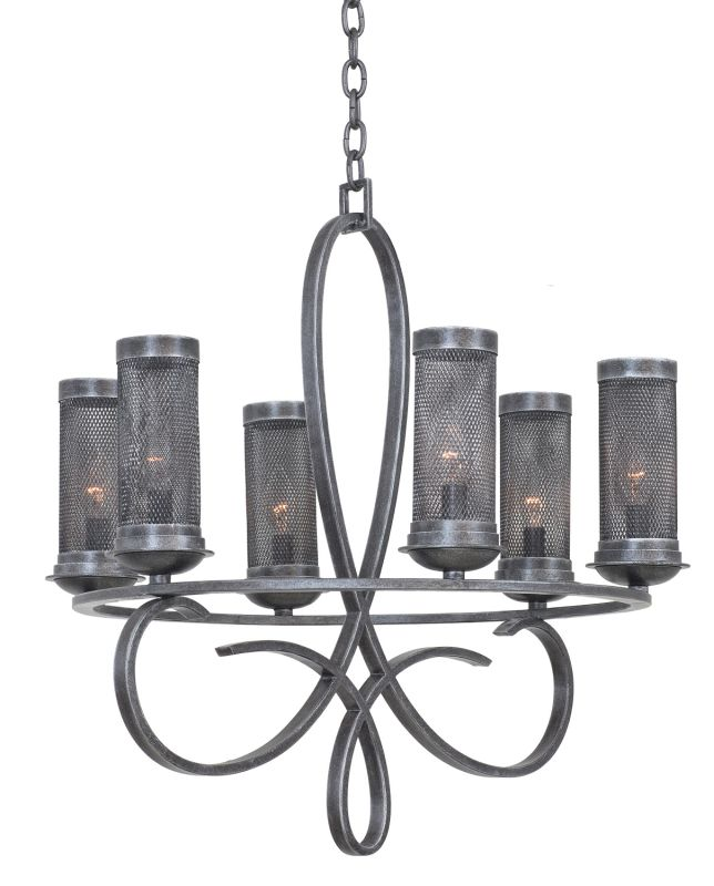 Kalco 7534VI Delancy 6 Light 1 Tier Chandelier Vintage Iron Indoor
