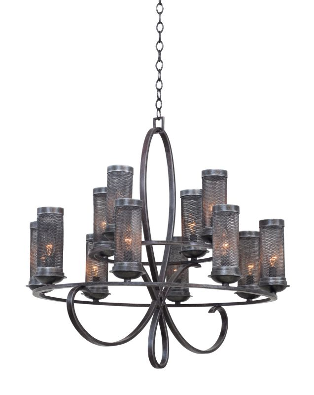 Kalco 7535VI Delancy 12 Light 2 Tier Chandelier Vintage Iron Indoor