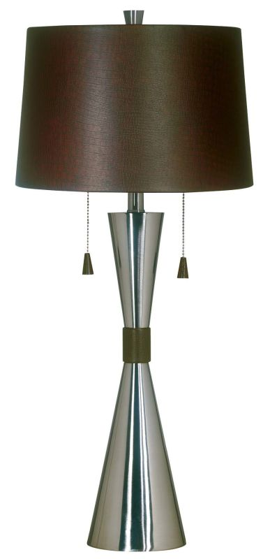 Kenroy Home 02371 Bella 2 Light Table Lamp Brushed Steel Lamps
