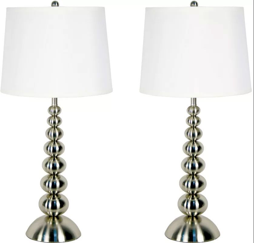 Kenroy Home 20116BS Pack of 2 Baubles 1 Light Lamp Set Brushed Steel