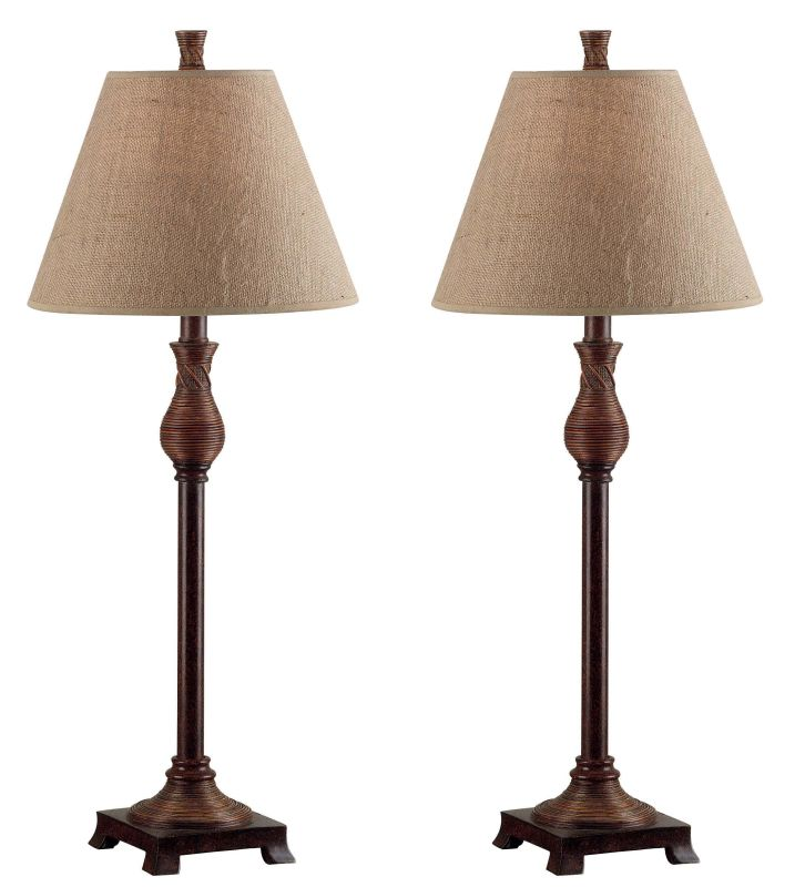 Kenroy Home 20392 Pack of 2 Santiago 1 Light Buffet Lamps Natural Reed