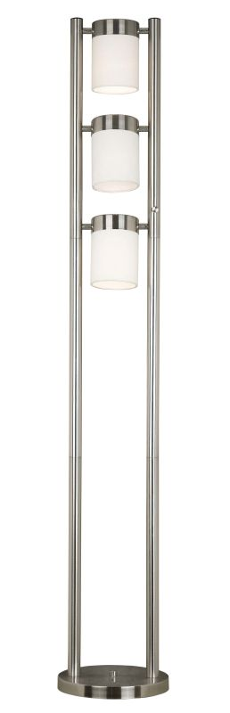 Kenroy Home 21001 Matinee 3 Light Column Floor Lamp Brushed Steel