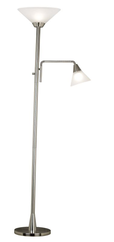 Kenroy Home 21002 Rush 2 Light Torchiere Floor Lamp Brushed Steel